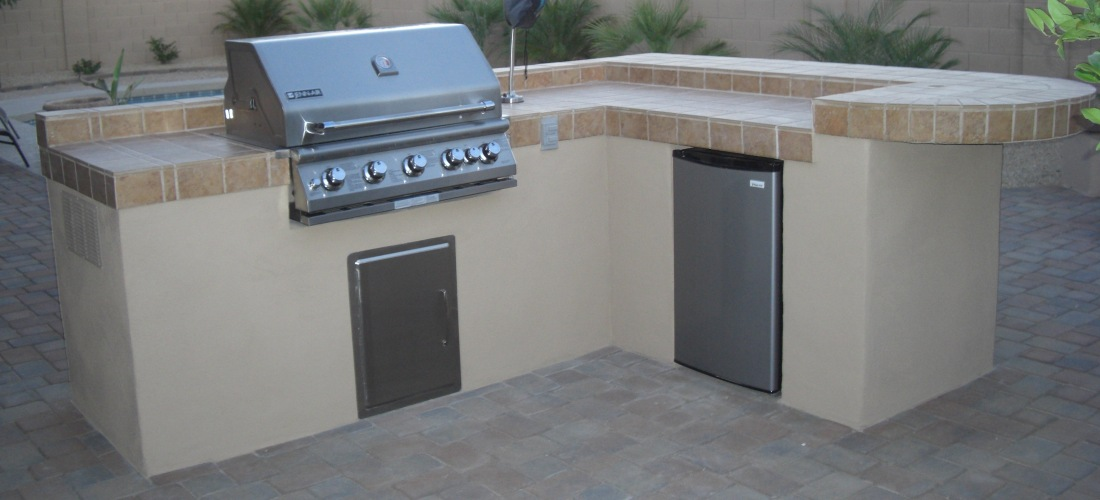 Tile and stucco bbq island custom outdoor bbqs desert crest llc