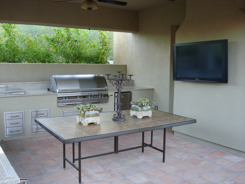 Step right into that grilling gourmet persona. A complete outdoor kitchen design, Phoenix can have everything, including a big screen tv.