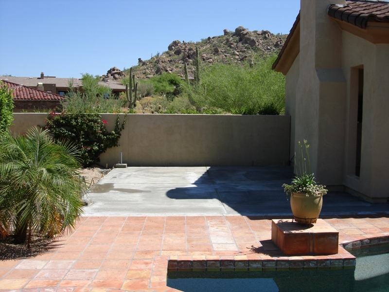 Step one in Phoenix or Scottsdale is pouring the foundation for the outdoor kitchen's floor.