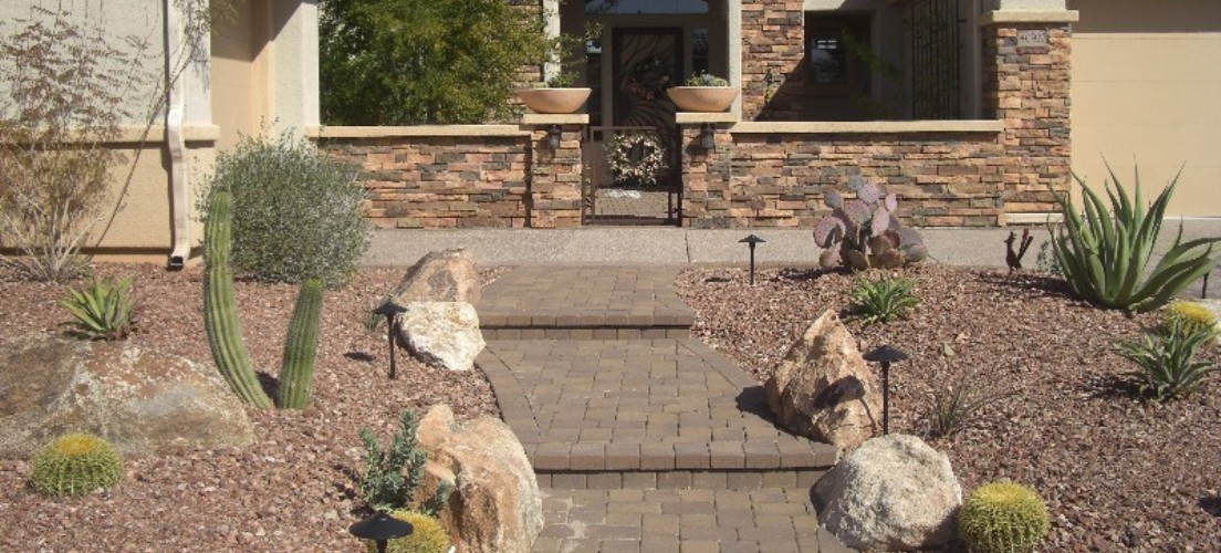 Stone courtyard walls phoenix arizona landscape design for Front yard courtyard design