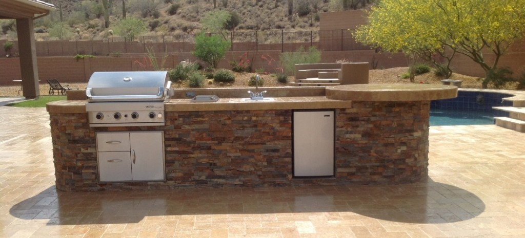 Stone built in bbq phoenix scottsdale w nw valley for Built in barbecue grill ideas