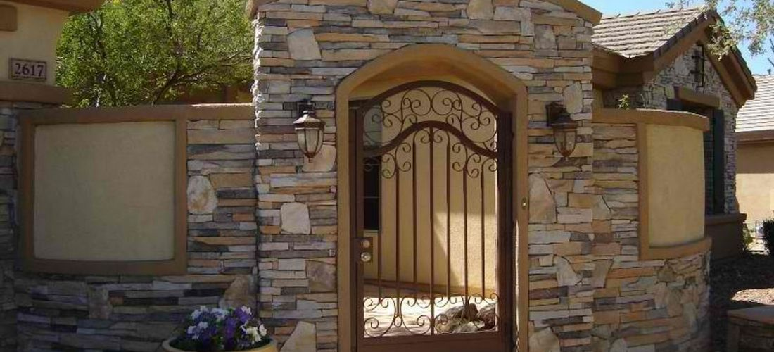 Curved Courtyard Walls Stucco Amp Stone Masons Glendale