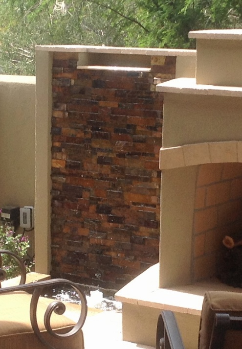 Scottsdale Outdoor Fireplace with Waterfalls