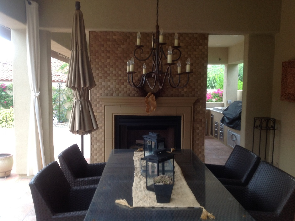 Brick Outdoor Fireplace: Landscape Design Scottsdale