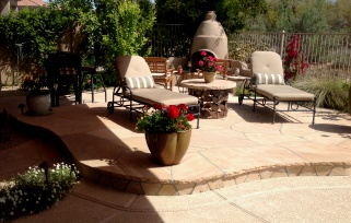 Stylish, beautiful spaces by Desert Crest; Scottsdale patio design, Phoenix outdoor living patios and landscaping.