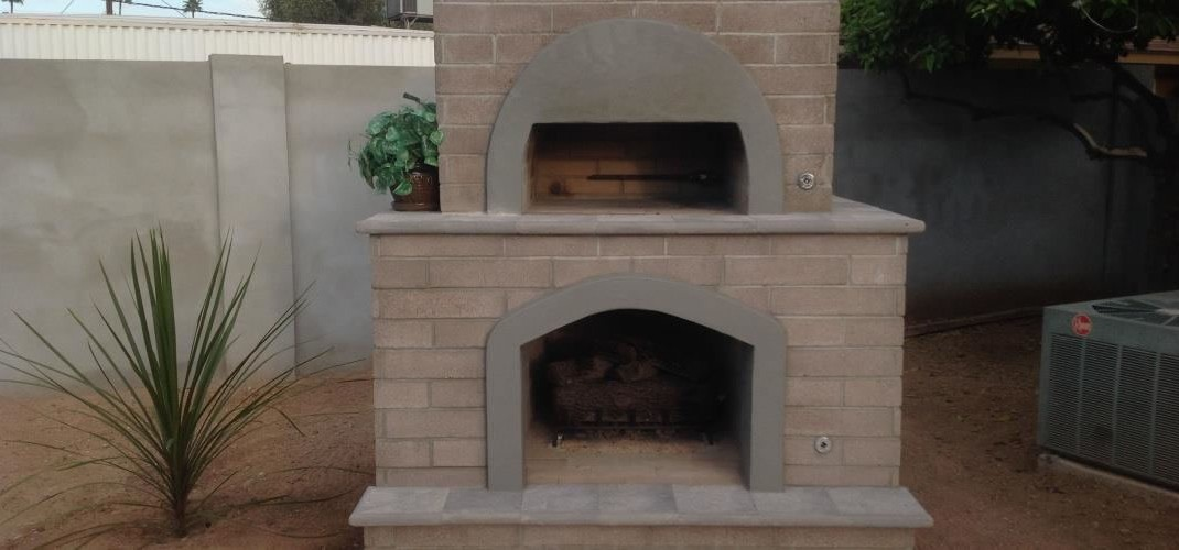 A custom brick pizza oven