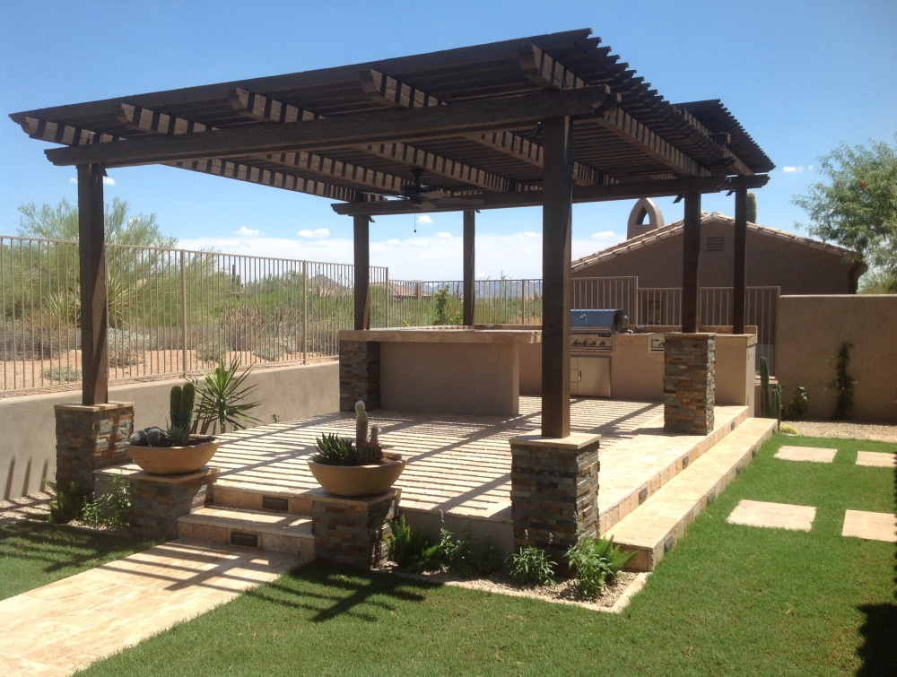 Wood Pergola Shade Roof Scottsdale Patio Design Desert