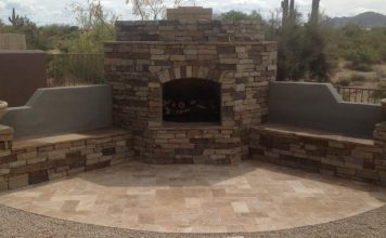 Stone & Travertine Fireplace