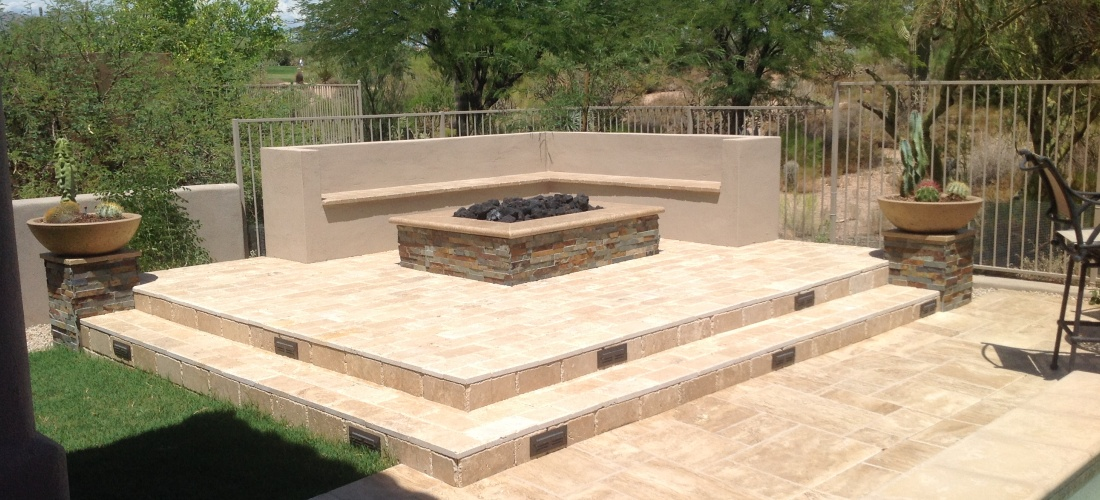 Our phoenix scottsdale outdoor fire pit portfolio for Fireplace on raised deck