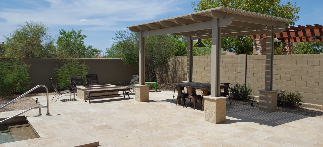 Patio shade structures patio mediterranean with hardscape for Shade structures