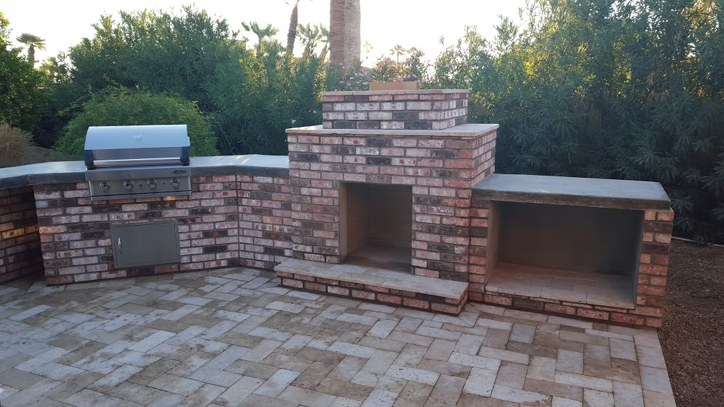 Outdoor Fireplace/BBQ Combo - Phoenix Landscaping