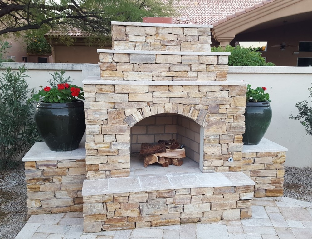 S Brown Blend Stone Outdoor Fireplace - Scottsdale